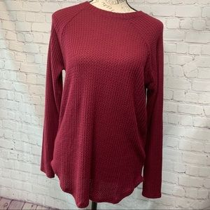 American Eagle waffle knit maroon long sleeve top